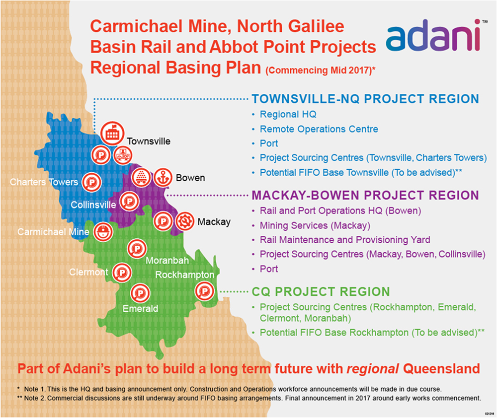 Adani's Carmichael Mine, North Galilee Basin Rail and Abbot Point Projects Regional Basing Plan, digitalimage, viewed 31 July 2017, <www.adaniaustralia.com>.